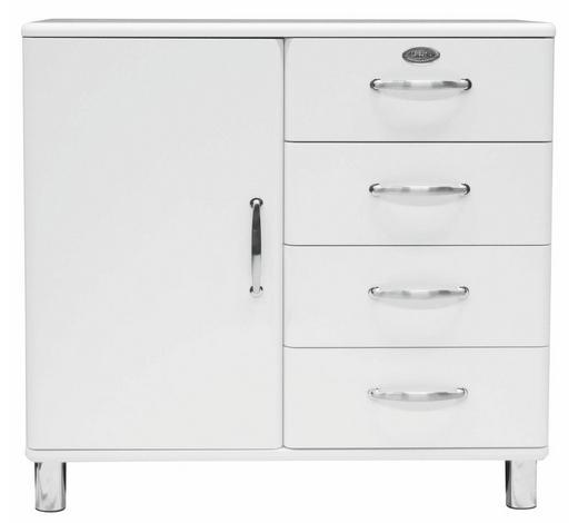 KOMMODE lackiert, Melamin Weiß  - Weiß/Nickelfarben, Design, Holzwerkstoff/Metall (98/92/41cm) - Carryhome