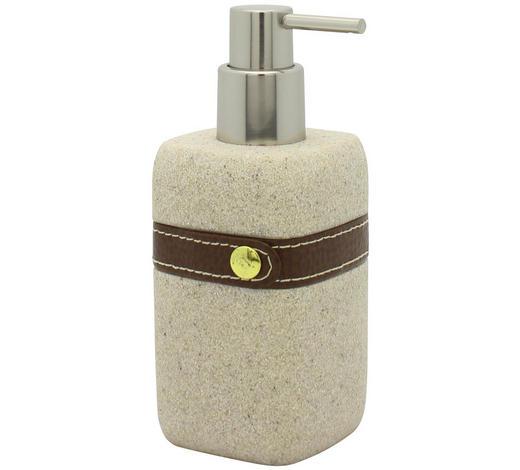 SEIFENSPENDER Kunststoff, Textil  - Beige, Basics, Kunststoff/Textil (7/17/7cm) - Sadena