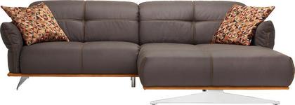 WOHNLANDSCHAFT Anthrazit, Currygelb Mikrofaser  - Currygelb/Chromfarben, Design, Textil/Metall (281/186cm) - Hom`in