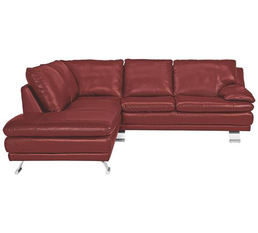 Ecksofa Rot Echtleder  - Rot/Alufarben, Design, Leder/Metall (246/220cm) - Celina Home