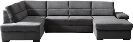 WOHNLANDSCHAFT Webstoff Armteilverstellung, Rücken echt - Anthrazit/Dunkelbraun, KONVENTIONELL, Kunststoff/Textil (183/319/166cm) - Cantus