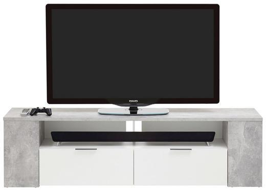 TV-ELEMENT Grau, Weiß - Chromfarben/Weiß, Design, Holzwerkstoff/Kunststoff (180/50/40cm)