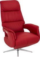 RELAXAČNÍ KŘESLO, červená, kůže - barvy nerez oceli/červená, Design, kůže (75/118/82cm) - WELNOVA