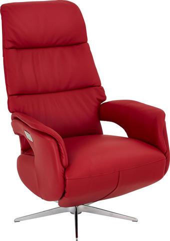 RELAXAČNÍ KŘESLO - barvy nerez oceli/červená, Design, kůže (75/118/82cm) - Welnova