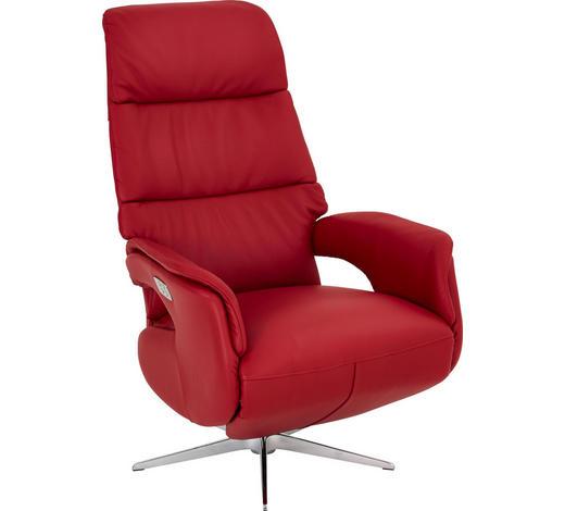 RELAXSESSEL Echtleder Relaxfunktion    - Edelstahlfarben/Rot, Design, Leder (75/118/82cm) - Welnova