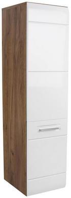 SREDNJE VISOKA OMARA 35/128,5/33 cm - bela/hrast, Moderno, kovina/leseni material (35/128,5/33cm) - Xora