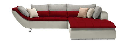 WOHNLANDSCHAFT Hellgrau, Rot, Weiß - Chromfarben/Rot, Design, Textil/Metall (300/220cm) - Hom`in