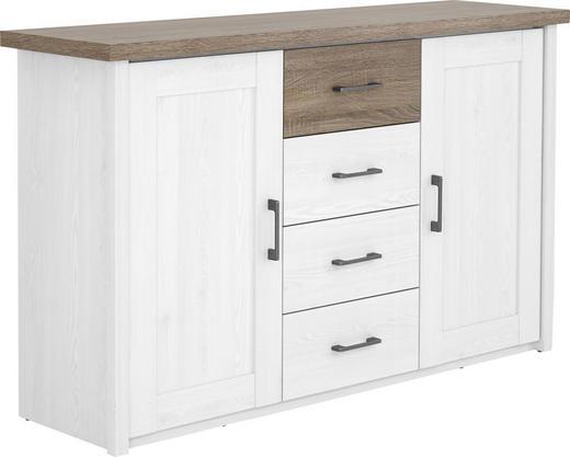 KOMMODE Trüffeleichefarben, Weiß - Trüffeleichefarben/Weiß, Design, Holzwerkstoff/Metall (150/90/42cm) - CARRYHOME
