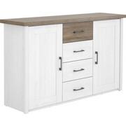 KOMODA SIDEBOARD - bílá/barvy lanýžového dubu, Lifestyle, kov/kompozitní dřevo (150/90/42cm) - Carryhome