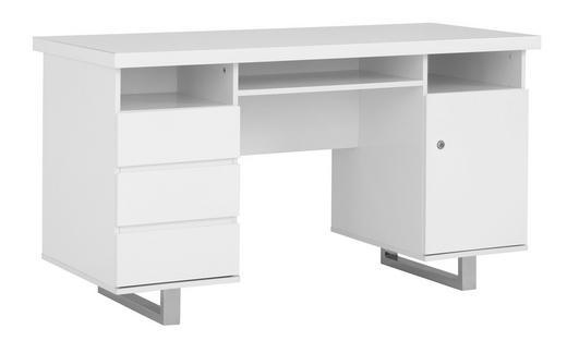 SCHREIBTISCH Chromfarben, Weiß - Chromfarben/Weiß, Design, Metall (140/76/60cm) - Carryhome