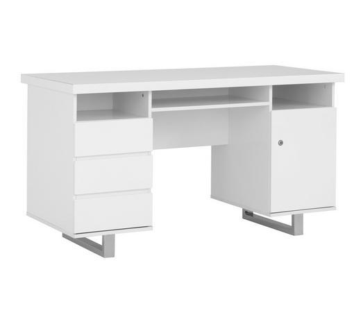 SCHREIBTISCH Weiß, Chromfarben - Chromfarben/Weiß, Design, Metall (140/76/60cm) - Carryhome