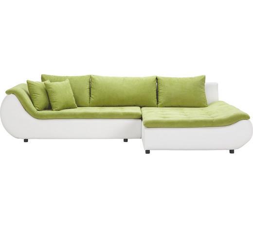 WOHNLANDSCHAFT in Textil Grün, Weiß  - Schwarz/Weiß, Design, Kunststoff/Textil (310/185cm) - Carryhome