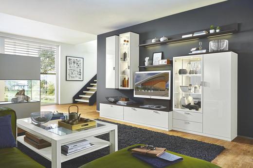 WOHNWAND Graphitfarben, Weiß - Graphitfarben/Weiß, Design (315/218/55,1cm) - Musterring