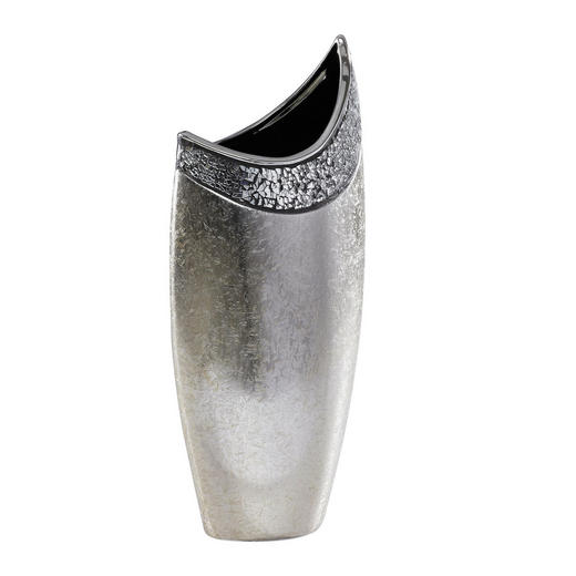 VASE - Silberfarben/Weiß, Basics, Keramik (20,5/45,5/13cm) - Ambia Home