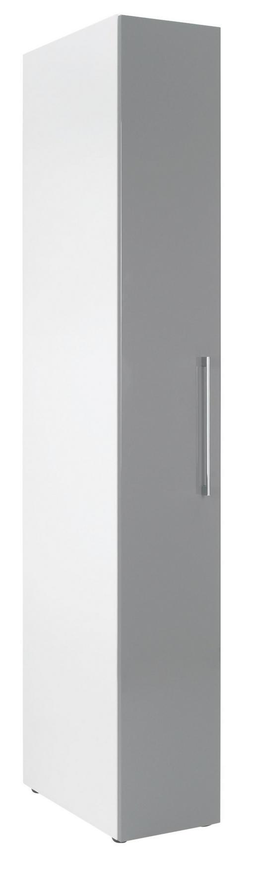 KLEIDERSCHRANK in Grau, Weiß - Chromfarben/Weiß, KONVENTIONELL, Holzwerkstoff/Metall (30/208/57cm) - Welnova