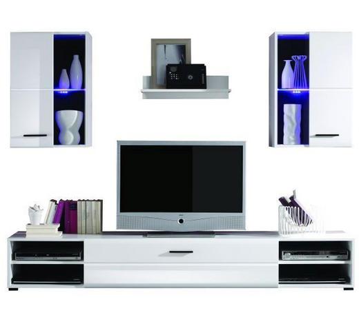REGAL ZA DNEVNI BORAVAK - bijela/antracit, Design, staklo/drvni materijal (200/190/42cm) - Boxxx