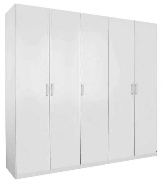 DREHTÜRENSCHRANK 5-türig Weiß - Silberfarben/Weiß, Design, Holzwerkstoff/Kunststoff (225/222/60cm) - Hom`in