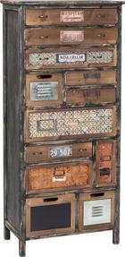 KOMMODE in furniert, massiv, Schichtholz Tanne Anthrazit, Braun, Creme - Anthrazit/Creme, Design, Holz/Metall (62/141/33cm)