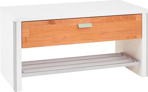GARDEROBENBANK Eiche massiv Eichefarben, Weiß - Chromfarben/Eichefarben, Design, Holz/Holzwerkstoff (85/43/40cm)