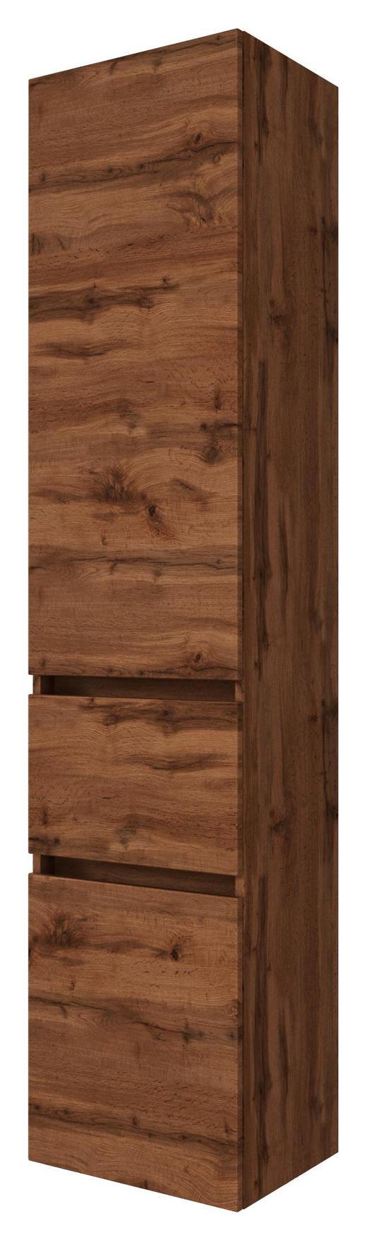 SEITENSCHRANK Eichefarben - Eichefarben/Silberfarben, Natur, Holzwerkstoff/Kunststoff (40/180/35cm) - Carryhome