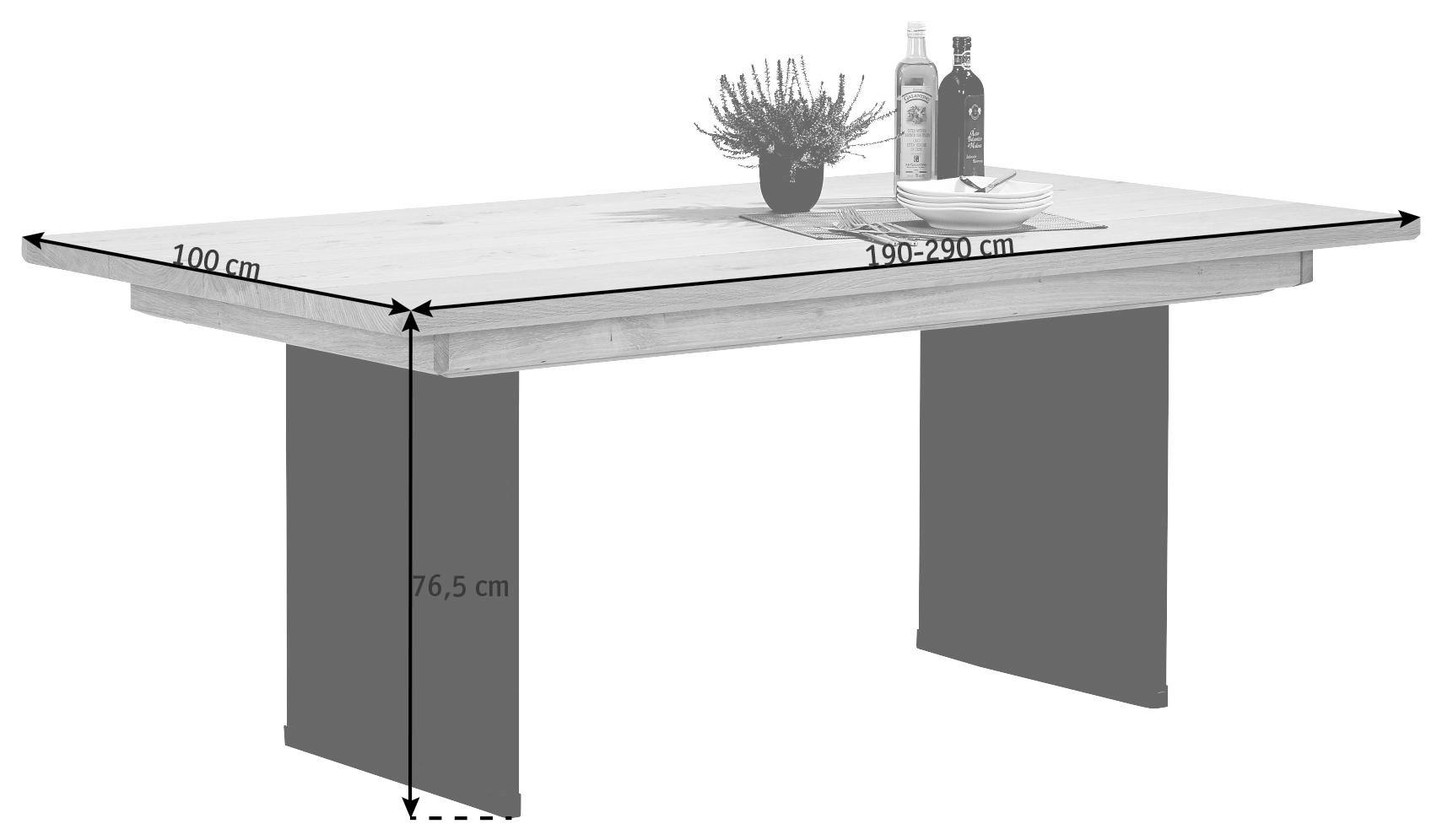 ESSTISCH Wildeiche massiv, mehrschichtige Massivholzplatte (Tischlerplatte) rechteckig Eichefarben - Eichefarben, Basics, Glas/Holz (190(290)/100/76,5cm) - VOGLAUER