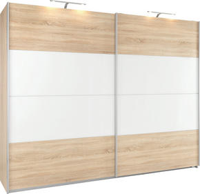 SKJUTDÖRRSGARDEROB - vit/Sonoma ek, Klassisk, metall/glas (271/210/62cm) - Xora