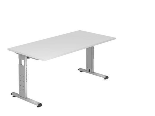 SCHREIBTISCH - Silberfarben/Weiß, KONVENTIONELL, Holzwerkstoff/Metall (160/65-85/80cm)