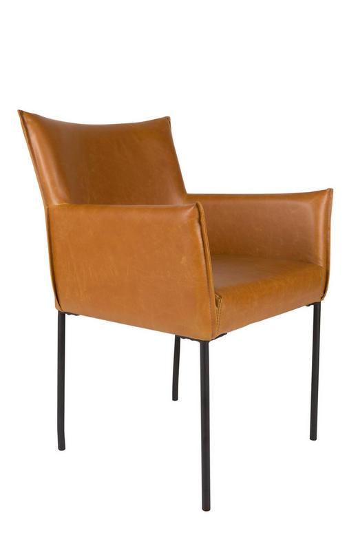 ARMLEHNSTUHL Lederlook Braun - Schwarz/Braun, KONVENTIONELL, Textil/Metall (64/59/86,5cm)