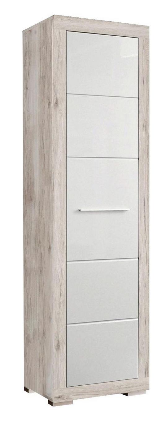 GARDEROBENSCHRANK Hochglanz Eichefarben, Weiß - Eichefarben/Alufarben, Basics, Holzwerkstoff/Kunststoff (58,4/198,4/36,3cm) - CARRYHOME