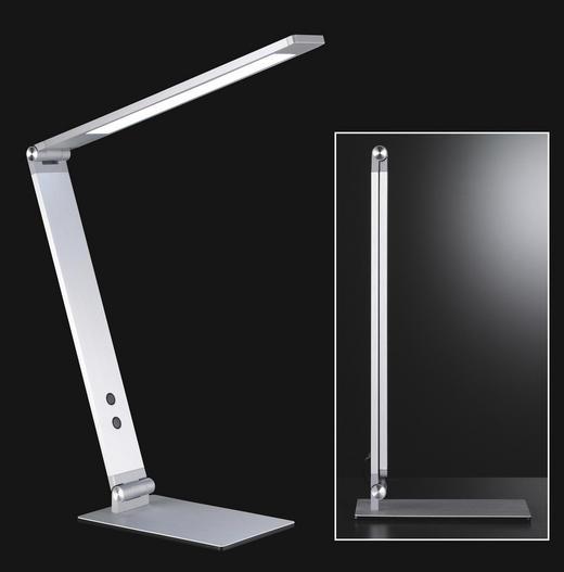 LED-TISCHLEUCHTE - Alufarben, KONVENTIONELL, Glas/Metall (34/38cm)