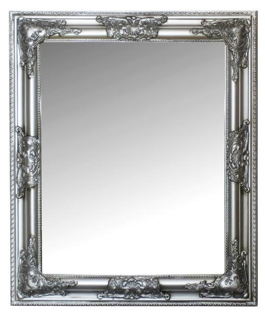 WANDSPIEGEL Silberfarben - Silberfarben, LIFESTYLE, Glas/Holz (52/62/3cm)