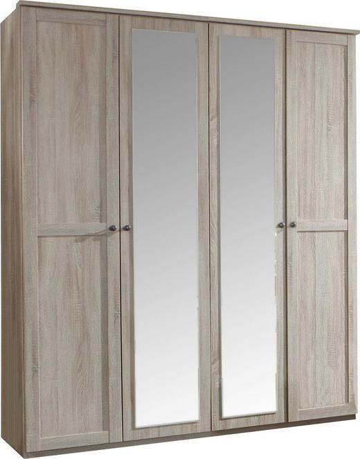DREHTÜRENSCHRANK 4-türig Eichefarben - Eichefarben/Braun, LIFESTYLE, Glas/Holzwerkstoff (180/210/58cm) - Carryhome