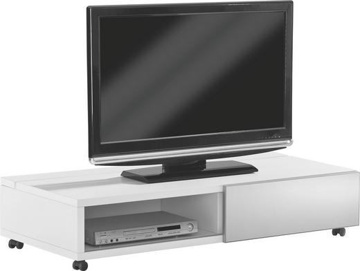 TV-ELEMENT Silberfarben, Weiß - Silberfarben/Weiß, Design, Glas/Kunststoff (125/26,7/44,3cm) - Xora