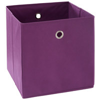 FALTBOX Metall, Textil, Karton Silberfarben, Brombeere  - Brombeere/Silberfarben, Design, Karton/Textil (32/32/32cm) - Carryhome