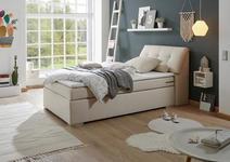 BOXSPRINGBETT 120/200 cm  INKL. Bettkasten, Topper - Silberfarben/Creme, Design, Kunststoff/Textil (120/200cm) - Esposa