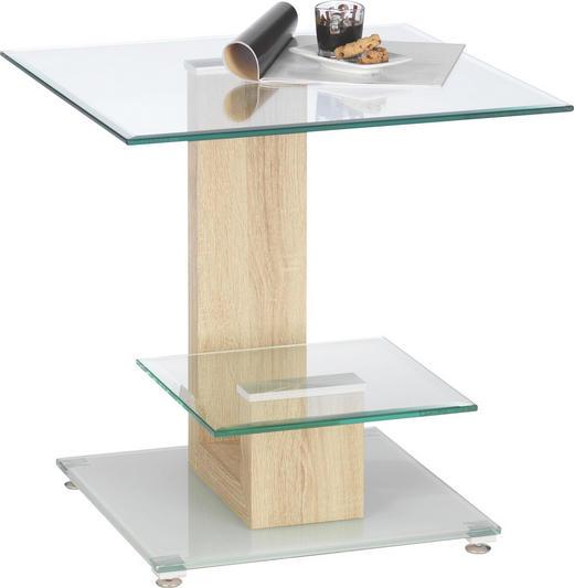 BEISTELLTISCH rechteckig Klar, Sonoma Eiche, Weiß - Klar/Weiß, Design, Glas/Metall (50/50/50cm)