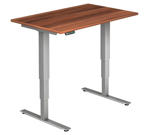 SCHREIBTISCH in Holzwerkstoff  - Silberfarben/Zwetschgefarben, KONVENTIONELL, Holzwerkstoff/Metall (120/63,5-128,5/80cm)