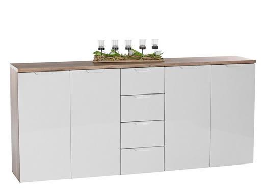 KOMMODE Eichefarben, Weiß - Eichefarben/Schwarz, Design, Holzwerkstoff (178/81/35cm) - Boxxx