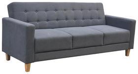Schlafsofa Levi B: 208 cm - Dunkelgrau/Grau, MODERN, Holz/Textil (210/85/88cm) - Ombra