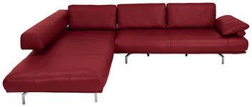WOHNLANDSCHAFT in Leder Rot  - Chromfarben/Rot, Design, Leder/Metall (254/305cm) - Dieter Knoll