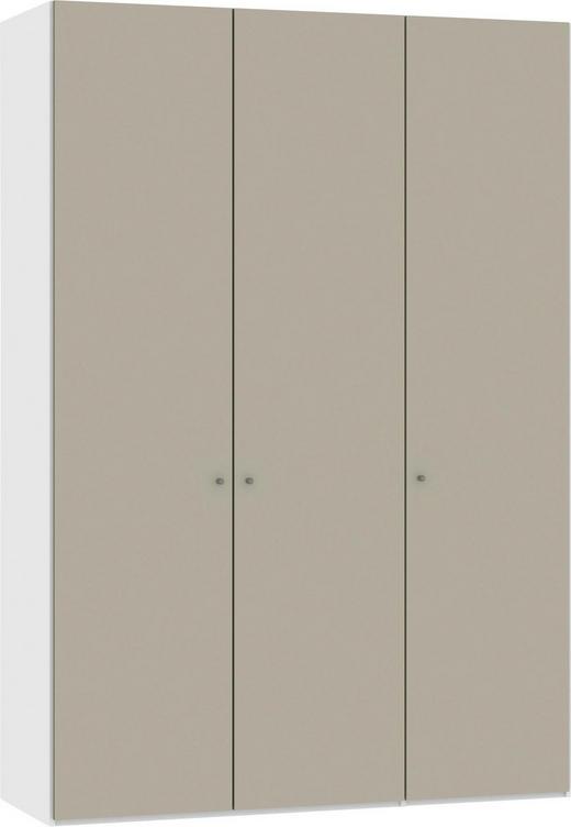 DREHTÜRENSCHRANK 3-türig Sandfarben, Weiß - Sandfarben/Silberfarben, Design, Glas/Metall (152,2/220/37,5cm) - Jutzler