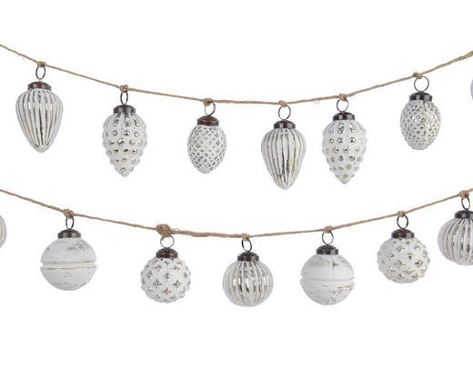 GLAS-KUGELGIRLANDE  Silberfarben, Weiß - Silberfarben/Weiß, Basics, Glas (120cm)