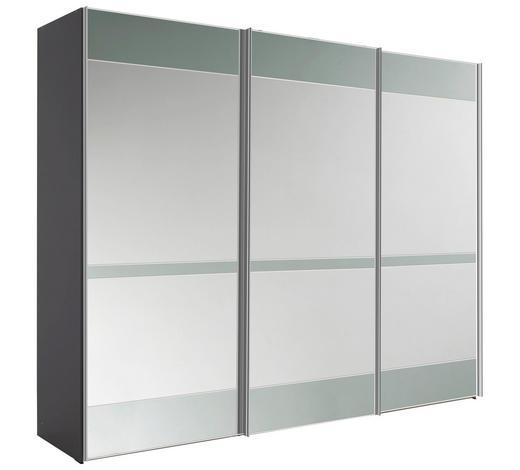 SCHWEBETÜRENSCHRANK in Grau - Chromfarben/Grau, KONVENTIONELL, Glas/Holzwerkstoff (249/222/68cm) - Moderano