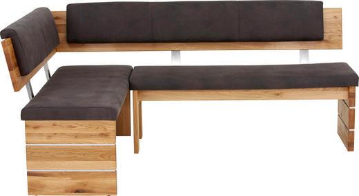 ECKBANK Mikrofaser Eiche massiv Anthrazit, Eichefarben - Eichefarben/Anthrazit, Design, Holz/Textil (205/155cm) - Valdera