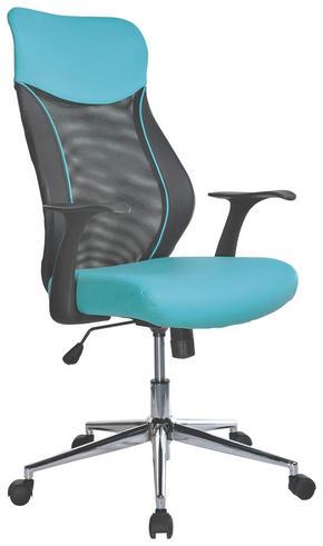KONTORSSTOL - vit/turkos, Design, metall/textil (62/110-120/65cm) - Carryhome