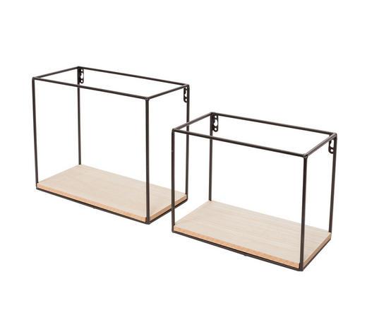 WANDREGALSET - Schwarz/Kieferfarben, Design, Holz/Metall (30/25/14cm)