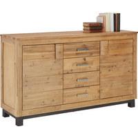 KOMODA SIDEBOARD - černá/barvy akácie, Konvenční, dřevo/dřevěný materiál (155/90/45cm) - Zandiara