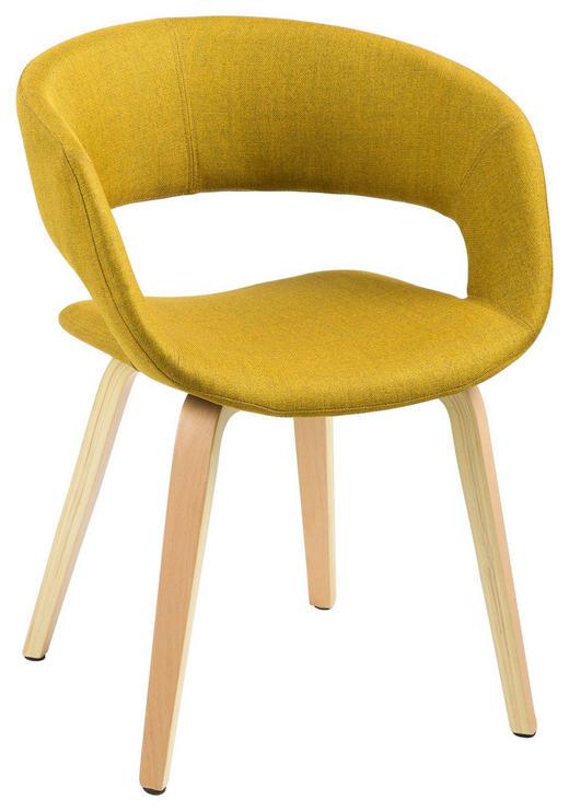 STUHL Webstoff Gelb - Gelb, Design, Holz/Textil (56/75/52cm) - Carryhome