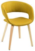 ŽIDLE, textil, žlutá, - žlutá, Design, dřevo/textil (56/75/52cm) - Carryhome