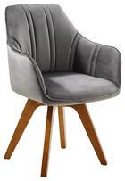 STOL, les, tekstil hrast, siva - siva/hrast, Moderno, tekstil/les (61 86 62,5cm) - Venda